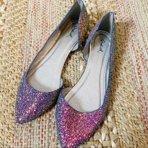 Irridescent Glitter Pointed Toe Flats